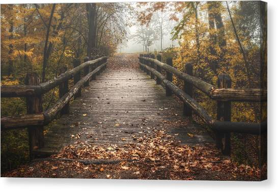 Foggy Lake Park Footbridge Canvas Print
