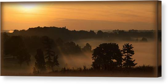 Foggy Morning At Valley Forge Canvas Print