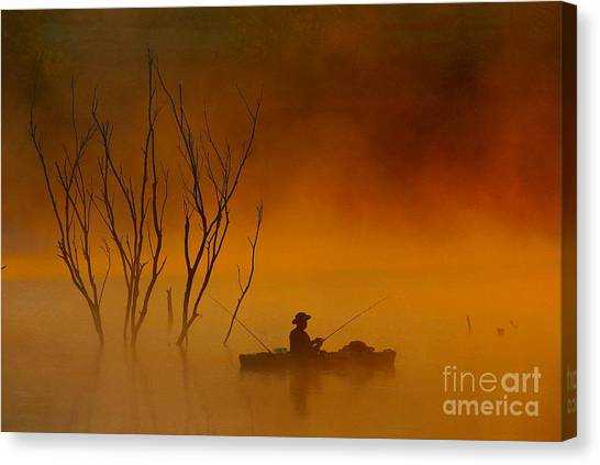 Foggy Morning Fisherman Canvas Print
