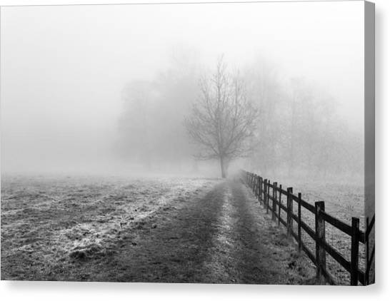 Canvas Print featuring the photograph Foggy Morning. by Gary Gillette
