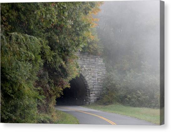 Foggy Morning On Parkway Canvas Print by Melony McAuley