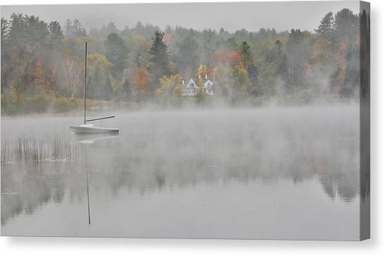 Foggy Morning Small Lake, New Hampshire Canvas Print by Darrell Gulin