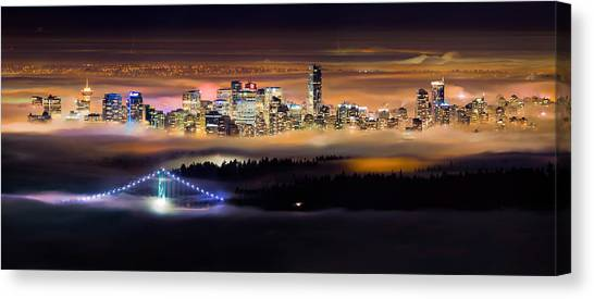 Vancouver Canvas Print - Foggy Night by Alexis Birkill