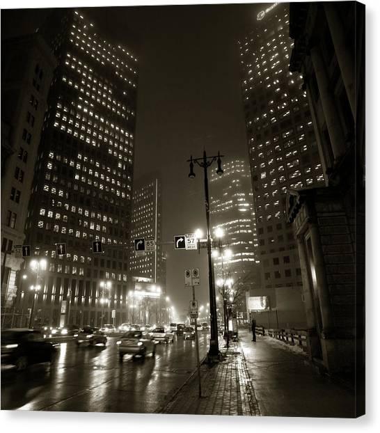 Manitoba Canvas Print - Foggy Night by Bryan Scott