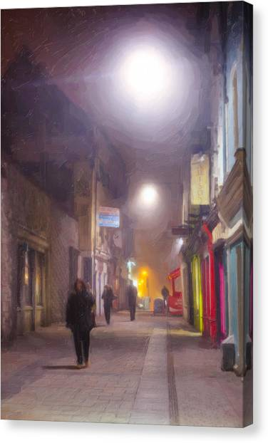 Foggy Night In The Heart Of Galway Canvas Print by Mark Tisdale