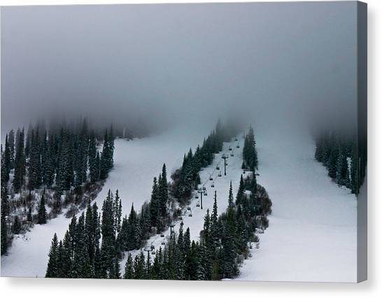 Foggy Ski Resort Canvas Print