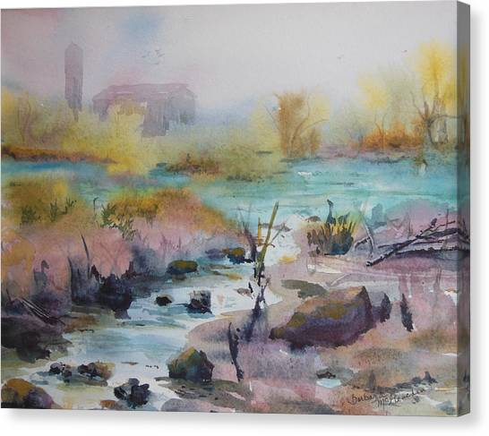 Foggy Stream Canvas Print by Barbara McGeachen