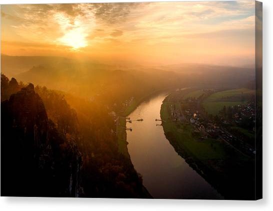 Foggy Sunrise At The Elbe Canvas Print