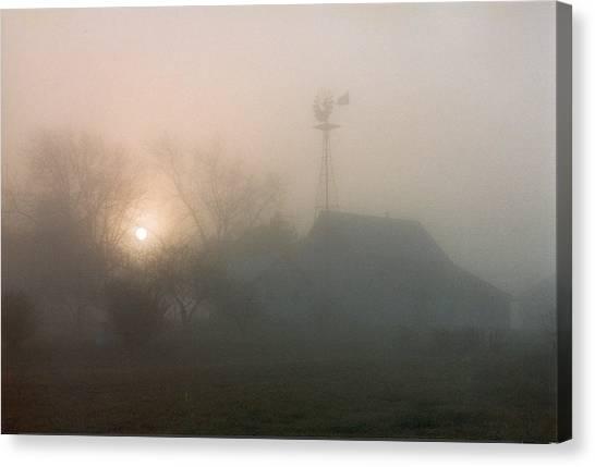 Foggy Sunrise Over Barn Canvas Print