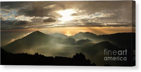 Foggy Sunrise Over Haleakala Crater On Maui Island In Hawaii Canvas Print