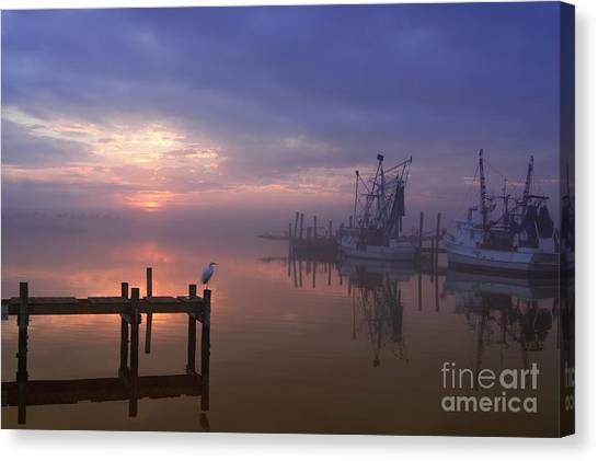 Salt Water Canvas Print - Foggy Sunset Over Swansboro by Benanne Stiens