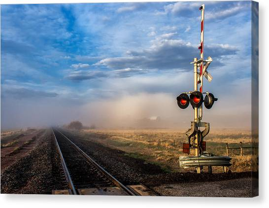 Foggy Train Tracks Canvas Print