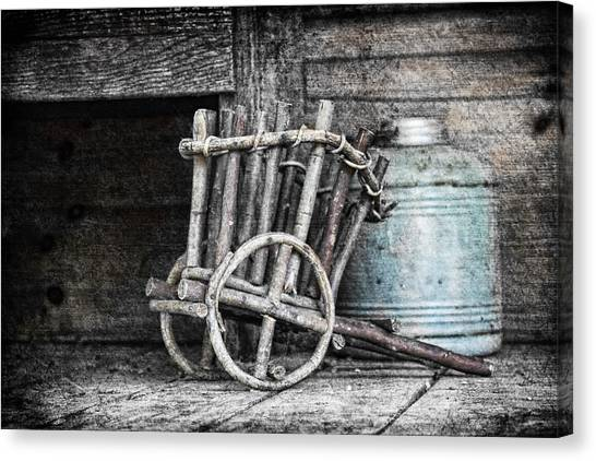 Black And White Art Canvas Print - Folk Art Cart Still Life by Tom Mc Nemar