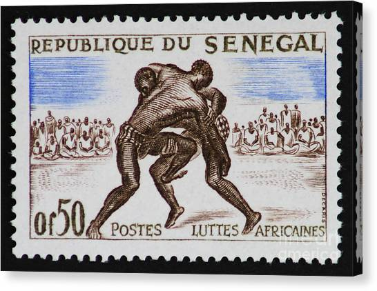 Folk Wrestling Vintage Postage Stamp Print Canvas Print