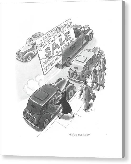 Truck Driver Canvas Print - Follow That Truck! by Robert J. Day
