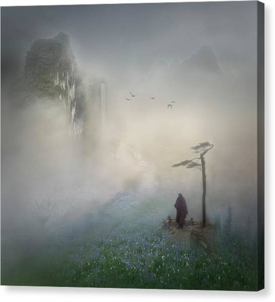 Monks Canvas Print - Follow The River To Where It Starts by Shenshen Dou