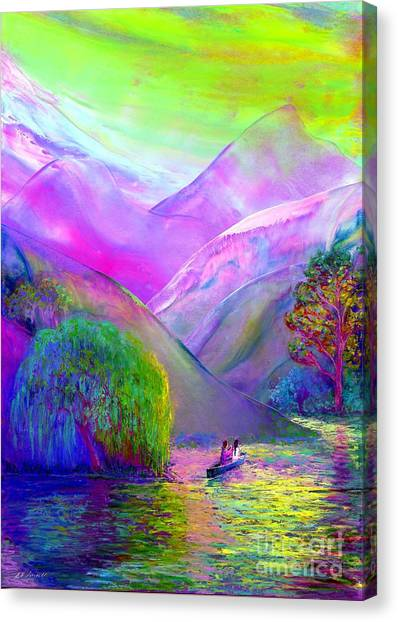 Rivers Canvas Print -  Love Is Following The Flow Together by Jane Small