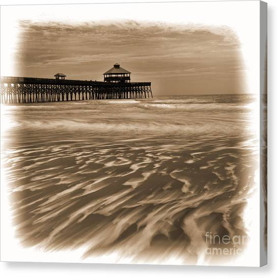 Folly Beach Pier Toned Canvas Print