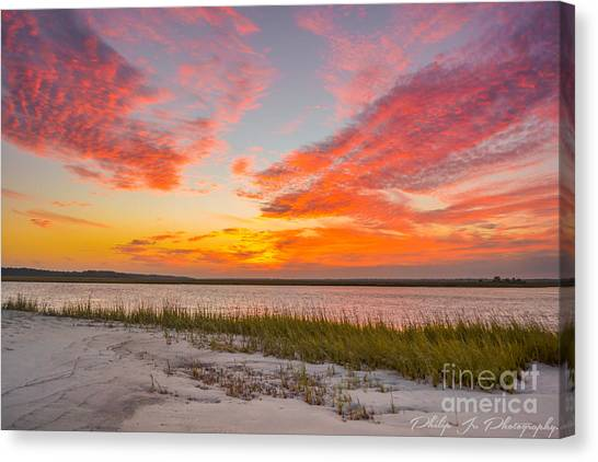 Folly October Sky X Sunset Canvas Print by Philip Jr Photography