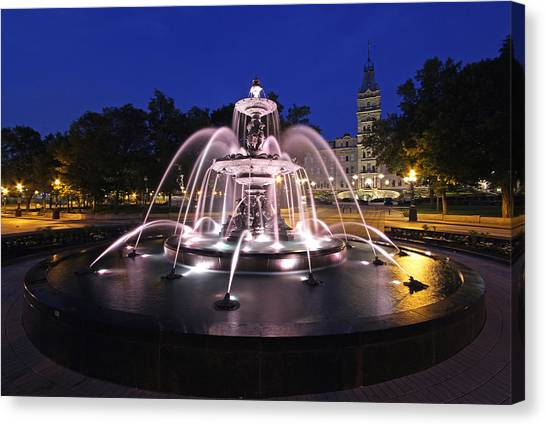 Parliament Hill Canvas Print - Fontaine De Tourny by Juergen Roth