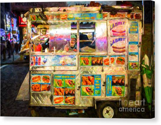 Hot Dogs Canvas Print - Food Cart In New York City by Diane Diederich