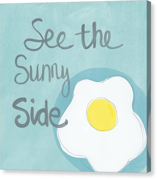 Word Art Canvas Print - Food- Kitchen Art- Eggs- Sunny Side Up by Linda Woods