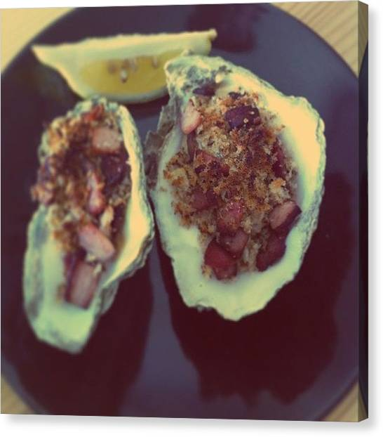 Oysters Canvas Print - Food Last Night. Oysters Kilpatrick by Gareth Thompson