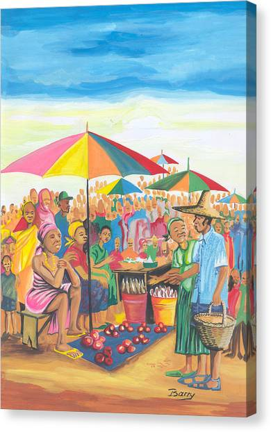 Food Market In Cameroon Canvas Print