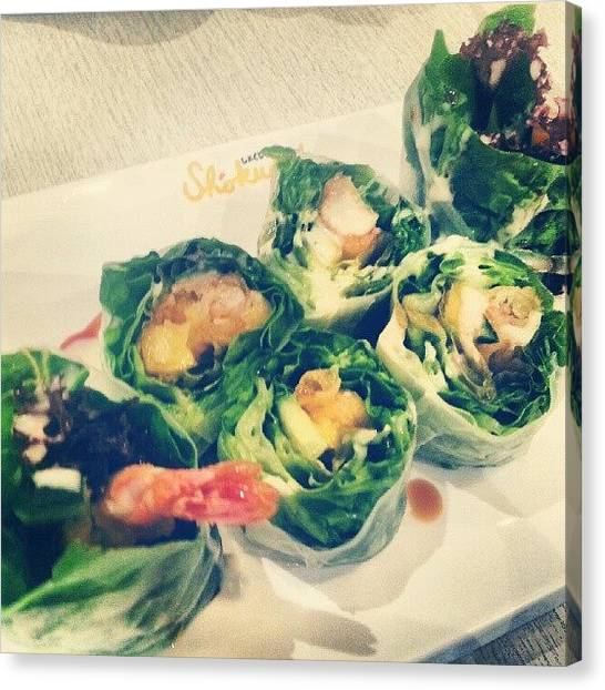 Mangos Canvas Print - #food #prawn #mango #salad #singapore by Sharon Chia