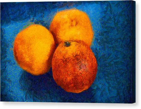 Food Still Life - Three Oranges On Blue - Digital Painting Canvas Print