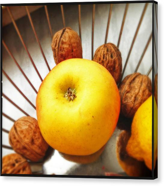 Still Life Canvas Print - Food Still Life - Yellow Apple And Brown Walnuts - Beautiful Warm Colors by Matthias Hauser