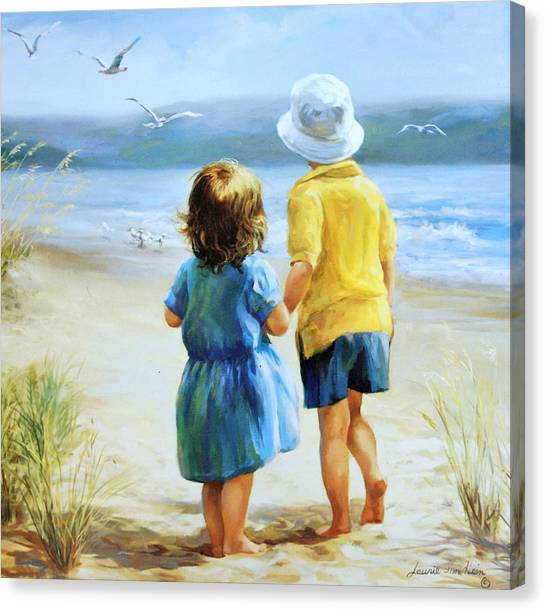 Children On Beach Canvas Print - Foot Prints by Laurie Hein