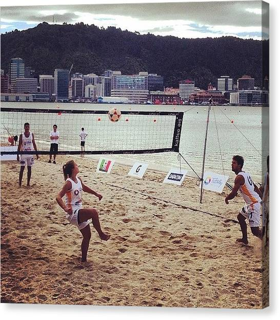 Volleyball Canvas Print - Foot Volley, No Hands. #footvolley by Nate Greenberg