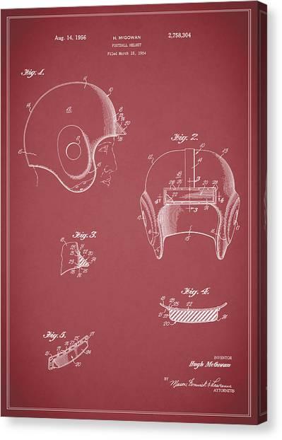 New York Jets Canvas Print - Football Helmet 1954 - Red by Mark Rogan