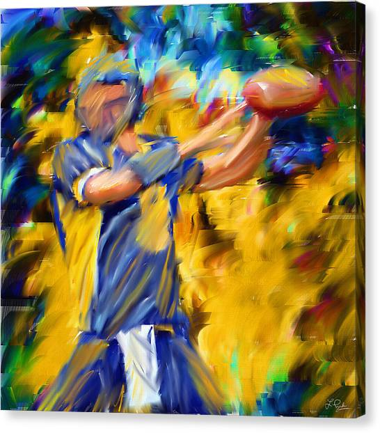 Running Backs Canvas Print - Football I by Lourry Legarde