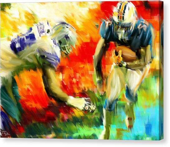 Running Backs Canvas Print - Football IIi by Lourry Legarde