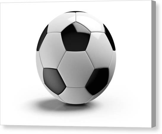 Football On A White Background Canvas Print by Atomic Imagery