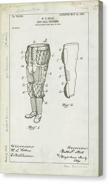 Raven Canvas Print - Football Pants Patent Drawing by Jon Neidert