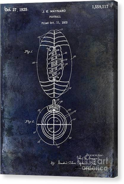 Chicago Bears Canvas Print - 1925 Football Patent Drawing Blue by Jon Neidert