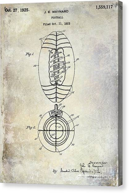 Dallas Cowboys Canvas Print - 1925 Football Patent Drawing by Jon Neidert
