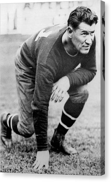 Football Canvas Print - Football Player Jim Thorpe by Underwood Archives
