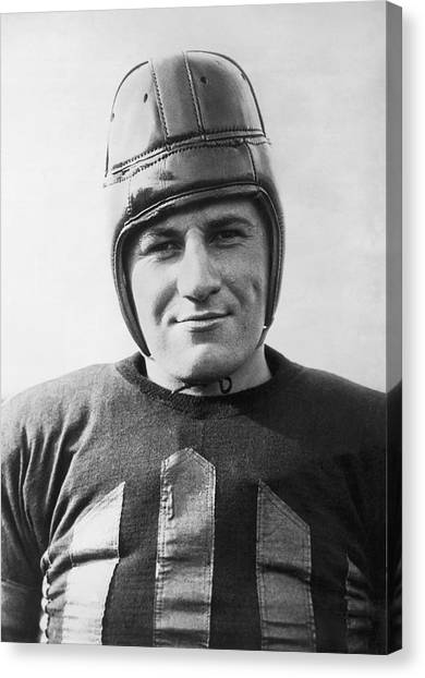 Football Canvas Print - Football Player Portrait by Underwood Archives