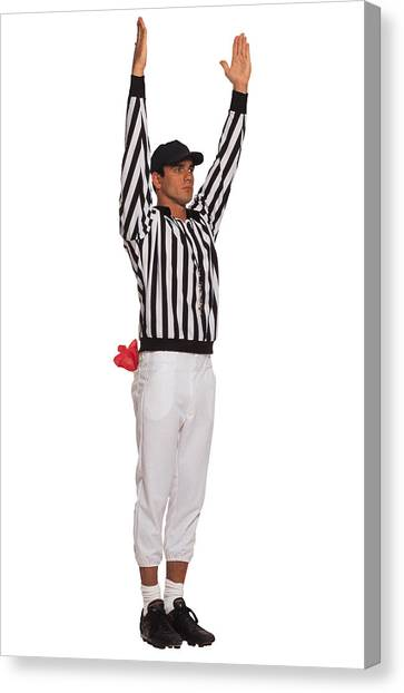 Football Referee Signaling Touchdown Canvas Print by Comstock