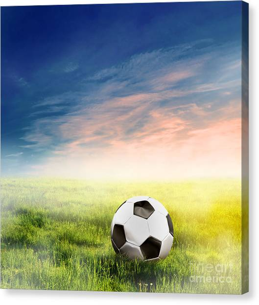 Football Soccer Ball On Green Grass Canvas Print