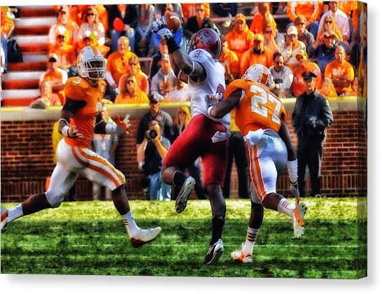Troy University Troy Canvas Print - Football Time In Tennessee by Mountain Dreams