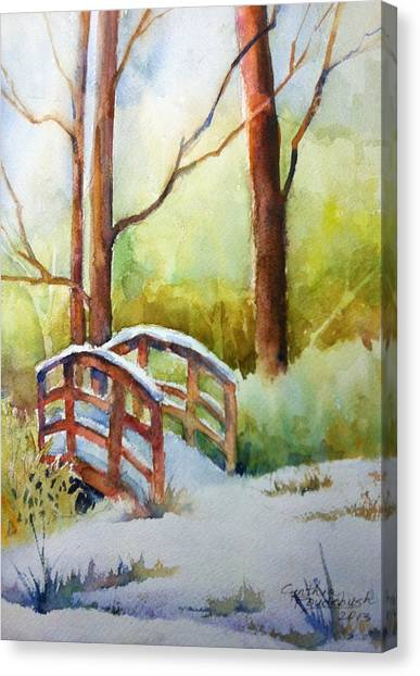Footbridge At Goosehaven In Lafayette Colorado Canvas Print