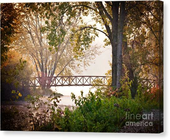 Canvas Print featuring the photograph Footbridge by Kari Yearous