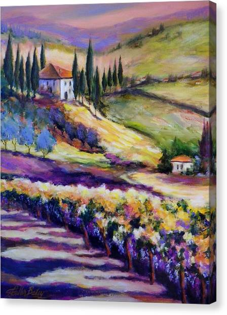 Foothills Vines And Olives Of Tuscany  Sold Canvas Print by Therese Fowler-Bailey