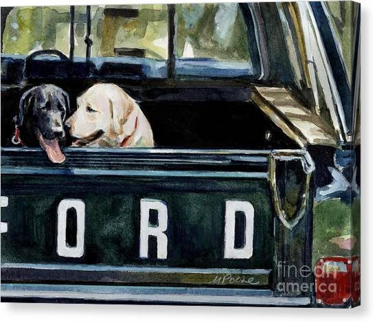 Ford Truck Canvas Print - For Our Retriever Dogs by Molly Poole