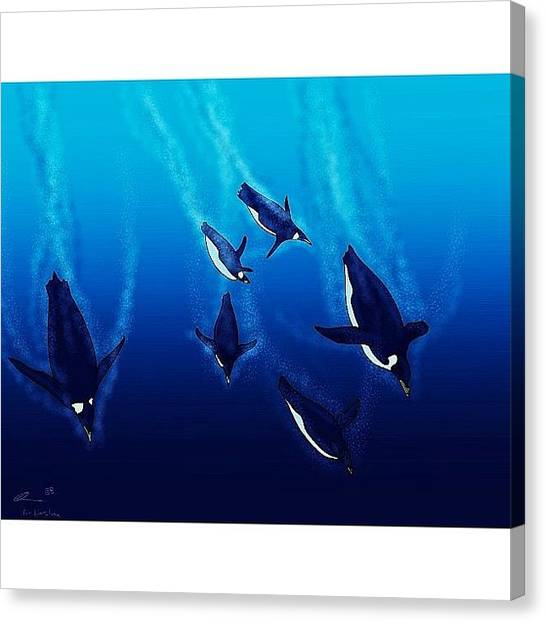 Penguins Canvas Print - For Someone #special #art #drawing by Tom Easen